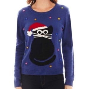 Carolyn Taylor Blue Cat Ugly Christmas Sweater M